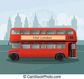 autóbusz, ábra, decker, gyakorlatias, london, megkettőz