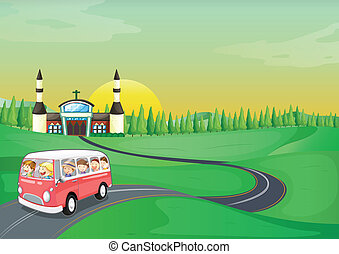 autóbusz, gyerekek