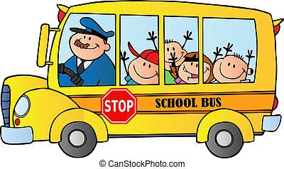 autóbusz, iskolások, boldog