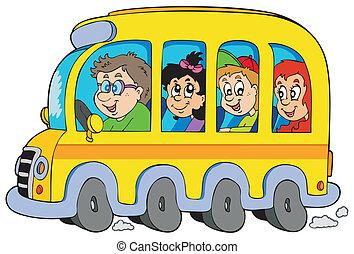 autóbusz, iskola ugrat, karikatúra