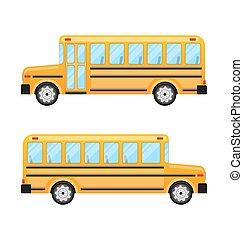 autóbusz, izbogis, fehér, elszigetelt, háttér
