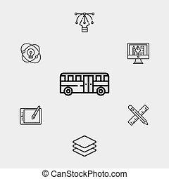 autóbusz, jelkép, vektor, ikon, aláír