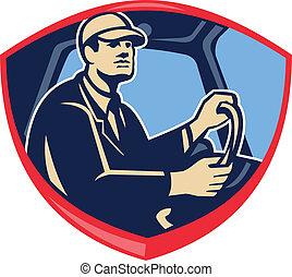 autóbusz, pajzs, sofőr, csereüzlet, lejtő