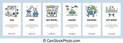 autóbusz, város, break., onboarding, utazás, vektor, app, mozgatható, template., vacation., cirkál, website, nyár, árnyékol, transzparens, víz