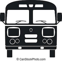 autóbusz, vektor, retro, ábra, ikon