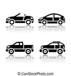 autók, állhatatos, -, szállít, ikonok