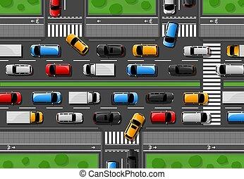 autók, dzsem, autópálya, város forgalom, torlódás, vektor