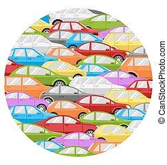 autók, elszigetelt, dzsem, forgalom körbejár, fehér, ikon