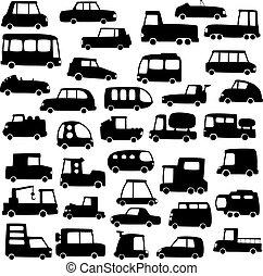 autók, körvonal, állhatatos, karikatúra