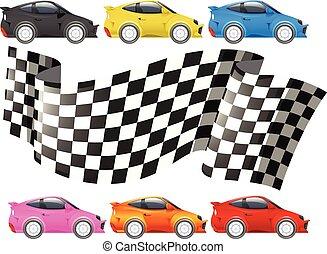 autók, lobogó, versenyzés