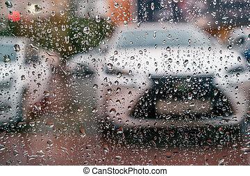 autók, pohár, át, parkolt, esőcseppek, befedett, kilátás