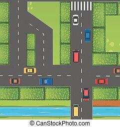 autók, tető, tele, utca, kilátás