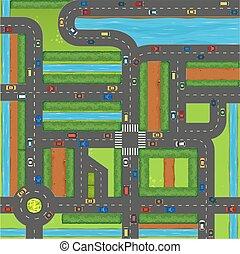 autók, tető, utca, kilátás