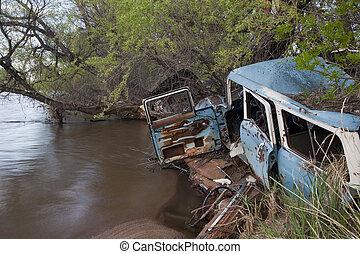 autók, vacak, folyó
