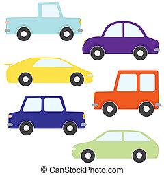 autók, vektor, állhatatos, karikatúra