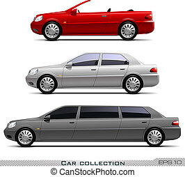 autók, vektor, állhatatos, klasszikus