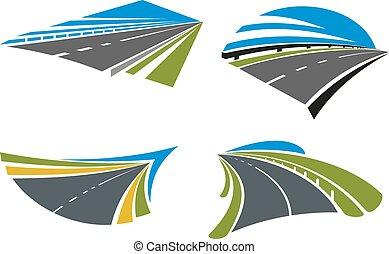 autópályák, közútak, táj, ikonok