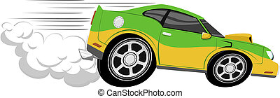 autóverseny, karikatúra