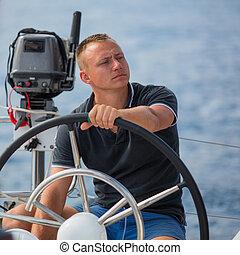autózás, boat., vitorlázás, figyelmetlen ember