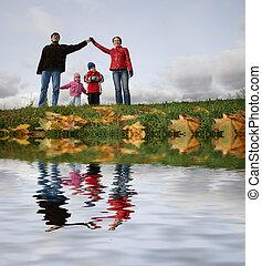 autumn., house., folyó, család, gyerekek