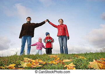 autumn., house., gyerekek, család