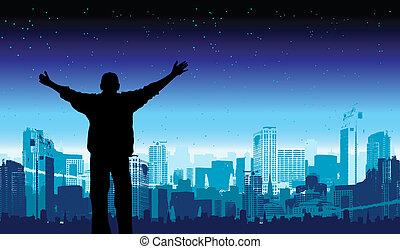 az enyém, ábra, vektor, ő van, város