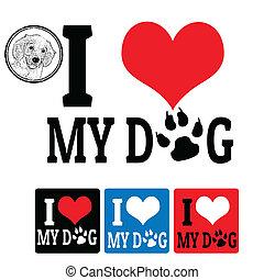 az enyém, elnevezés, szeret, kutya, aláír