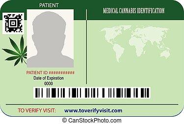 azonosítás, türelmes, marihuána, kártya
