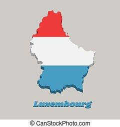 azt, blue., térkép, lobogó, triband, luxemburg, fény, horizontális, 3, fehér, áttekintés, piros
