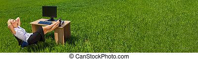 bágyasztó, üzletasszony, panoráma, mező, zöld asztal, transzparens