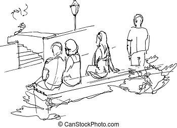 bágyasztó, emberek, bírói szék, liget, csoport