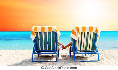 bágyasztó, fedélzet, párosít, szék, tengerpart, hátsó kilátás