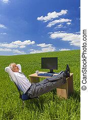 bágyasztó, feláll, lábak, mező, zöld asztal, üzletember
