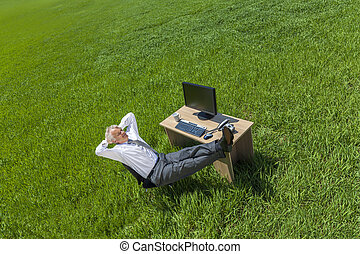 bágyasztó, gondolkodó, üzletember, íróasztal, zöld terep