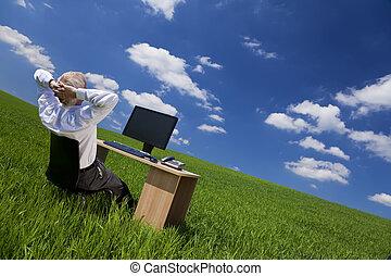 bágyasztó, hivatal, mező, zöld asztal, ember