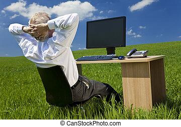 bágyasztó, mező, számítógép, zöld asztal, üzletember