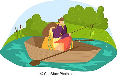 bágyasztó, női, ülés, lakás, természetes, kényelmes, együtt, vektor, külső, romantikus, elszigetelt, halászat, párosít, hím, white., ábra, bájos, csónakázik