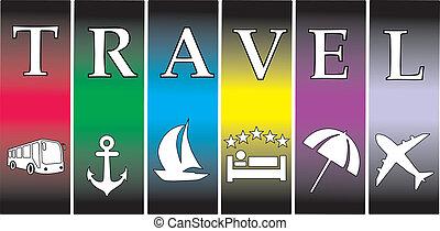 bágyasztó, utazás, szünidő, vektor