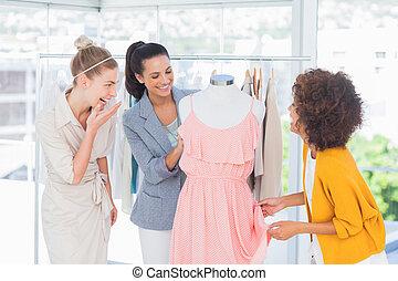 bájos, látszó, rajzoló, mód, ruha