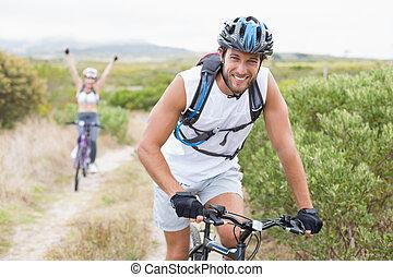 bájos, párosít, egészséges, hegy bicikli, nyom