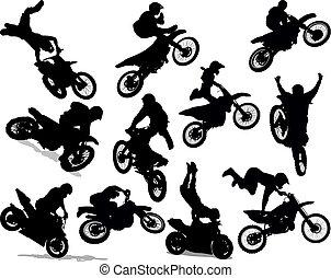 bámulatos dolog, állhatatos, árnykép, motorkerékpár