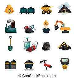 bányászás, állhatatos, ikonok