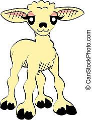 bárány, csinos, művészet, csíptet, húsvét, karikatúra