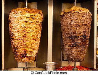 bárány, hús, élelmiszer, shawerma, gyorsan, csirke