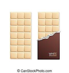 bár, csomag, csokoládé, vektor, fehér, blank.