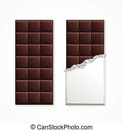 bár, csomag, csokoládé, vektor, fekete, blank.