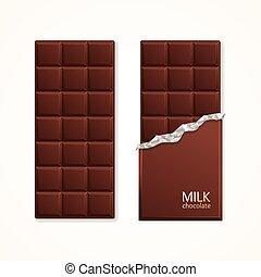 bár, csomag, csokoládé, vektor, megfej, blank.
