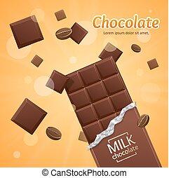 bár, csomag, -, csokoládé, vektor, tiszta, darabok, megfej