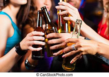 bár, emberek, klub, sör, ivás, vagy