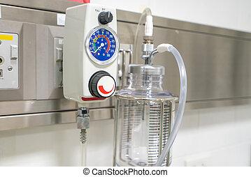 bár, szoba, oxigén, kalibrálás, concentrator, kórház, -e, kalibrál, eszköz, érzékelő, ellenőriz